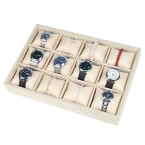 Gofeibao Watch Box Watch Case Cufflinks Holder Scrunchie Stand Bangle Organizer Box Jewelry Organiser Bracelet Storage Necklace Holder Jewellery Display yellow