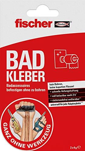 fischer 545949 BAD KLEBER Klebstoff zur Anbringung von Badaccessoires, wasserbeständig, für Bad & Küche, Befestigung ohne Bohren, zuverlässiger Halt, Rot, Weiß, 4 g