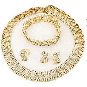 Liffly Nigeria Jewelry Sets for Women Africa Beads Jewelry Set Dubai Gold Wedding Bridal Fashion Jewelry Sets Womens Accessories, Choker Necklace 16 inch