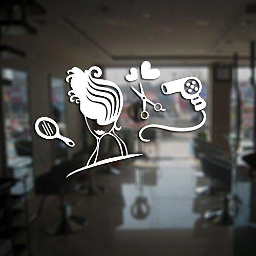 ASFGA Retro Nordic Hair Salon Friseur Aufkleber Beauty Decal Poster Vinyl Wand Art Deco Fenster Dekoration Haarschnitt Schaum Glas Aufkleber 70x95cm