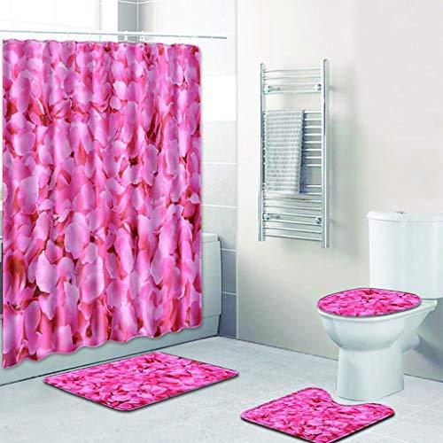4PCS Rose Pattern Shower Curtain Set Water Resistant Shower Bath Curtain Bath Rug Set Bathroom Shower Bathtub Non Slip Contour Mat & Toilet Lid Cover by Jessie storee, A