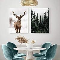 アートプリント冬の雪の森鹿日光の風景画北欧の朝の風景ポスター壁の写真家の装飾(40x60cm)x2フレームレス