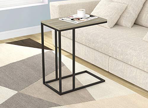 Safdie & Co. End Nachttisch aus schwarzem Metall, Dunkles Taupe Holz