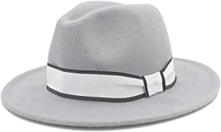 SHENTIANWEI Men Women Winter Fedora Hat with White Ribbon Panama Hat Wide Brim Church Fascinator Hat Casual Hat Size 56-58CM