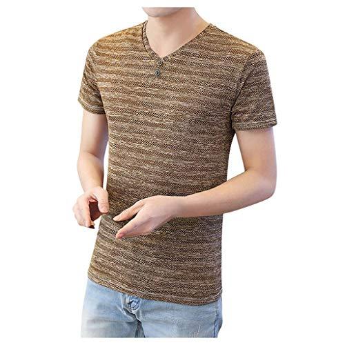 Yowablo T-Shirt en O Homme décontracté à Manches Courtes à Rayures régulières évidé (3XL,Marron)