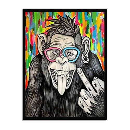 Leinwand Bild,Lustige Gorilla Mittelfinger, Poster Und Drucke Modulare Wand Bild, Home Decor Einfache Kunst Wandbilder Bild Foto Ausdrucken Wand Für Wohnzimmer, Schlafzimmer, Hotel, Speisesaal, Cafe