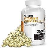 Natural Vitamin E Complex Supplement 400 I.U. (80% D-Alpha Tocopherol), Natural Antioxidant, 250 Softgels