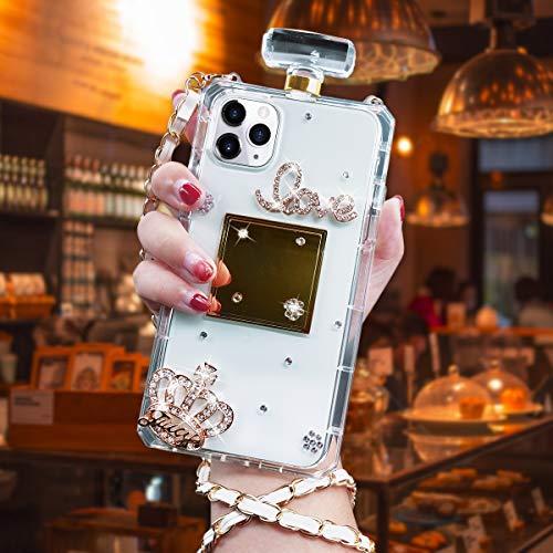 iPhone 8 Plus Case, iPhone 7 Plus Diamond Perfume Bottle Case,Goodaa Luxury Elegant Diamond Perfume Bottle Crystal Rhinestone Crown Cover Case For iPhone 8 Plus Case, iPhone 7 Plus with String(White)