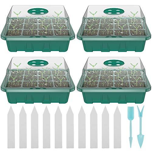 12Fori Set di Propagazione dei Semi, Vassoi per Piante con Cupole Ventilate, con 10 Etichette per Piante e 2 Strumento di Semina, per Germinazione, Coltivazione in Serra (4Pezzi, Verde)