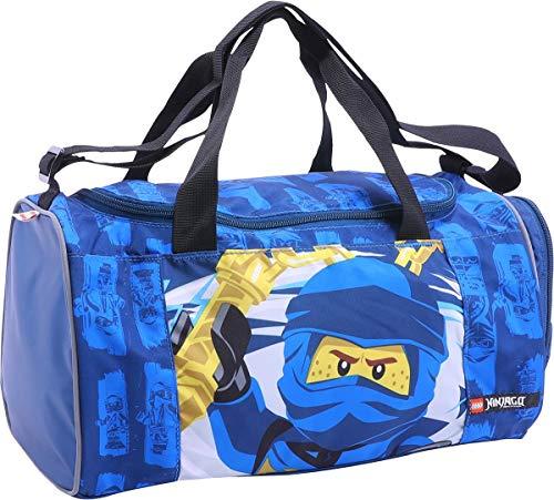 Lego Bags Sporttasche NINJAGO Jay mit Schuhfach und Nassfach, Reisetasche für Kinder, Schulsporttasche mit Lego Motiv, Gym Tasche aus Polyester, Weekender für Schüler, Umhängetasche in blau