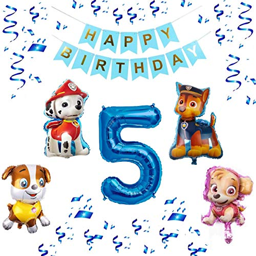 Paw Patrol XXL Folienballon Set Happy Birthday Banner + Zahl 1 2 3 4 5 6 7 8 9 Luftballon Ballon Hund Kindergeburtstag Deko Dekoration Geburtstag Party Marshall Skye Rubble Chase (Zahl 5)