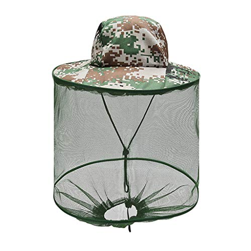 Head Net Hat, Camo Sun Hat Hat with Netting Protection from for Fishing Gardening Camping(Army Green)