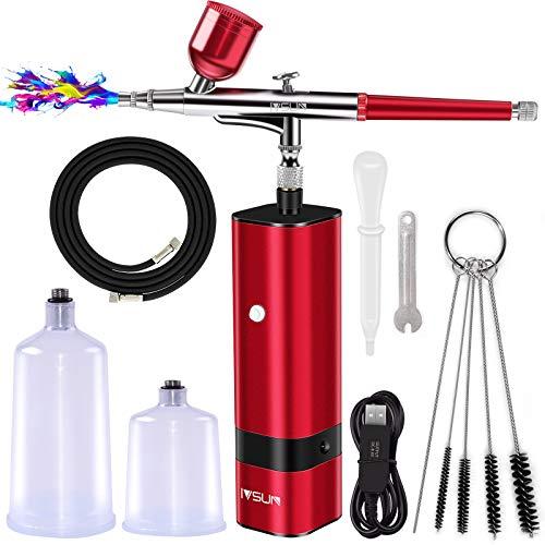 IVSUN Airbrush Set mit Luftkompressor Dual Action Airbrush-Spritzpistole Kit 30psi Air Brush für Modellbau Kuchen Make-up Nägeln Tattoos Kunsthandwerk