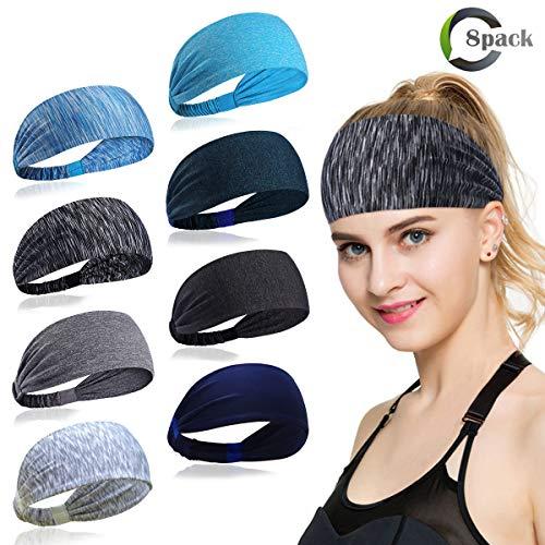 ECOMBOS Sport Stirnband für Frauen Lady - Headband Schweißband für Workout, Jogging, Walking, Yoga, Fitness, Crossfit (Mehrfarbig-b)