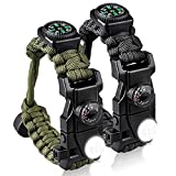 Bracelet Survival Paracord Military Buckle Tool Adjustable Rope Accessories Kit, Fire Starter, Knife, Compass, LED Light,Whistle,for Fishing Hiking Travel Camp(2pcs) (green)