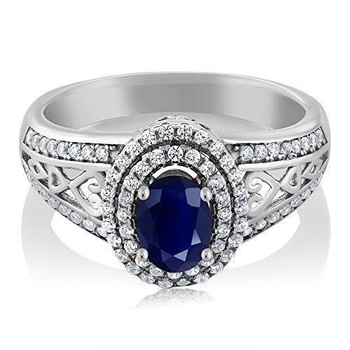 Gem Stone King Blue Sapphire 925 Sterling Silver Gemstone Birthstone Women's Ring 1.41 cttw, Center Stone: 6x4mm (Size 6)