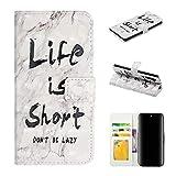 QFUN Leder Handyhülle für Samsung Galaxy Note 10 und Schutzfolie, Süß Muster Design [Schrift] Magnetverschluss Klappbar Ständer Schutzhülle mit Kartenfach Stoßfest Fallschutz Schutztasche Flip Case