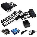 COSTWAY Electronik Keyboard Klavier 88 Tasten Roll Up Piano Silikon Tastatur Faltbar Flexible mit Fußpedal -