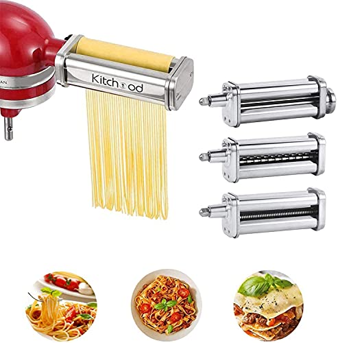 Pasta Attachment for KitchenAid Stand Mixers With Cleaning Brush ,Pasta Maker Attachment for Kitchenaid 3-Piece Set Including Pasta Sheet Roller, Fettuccine Cutter, Spaghetti Cutter