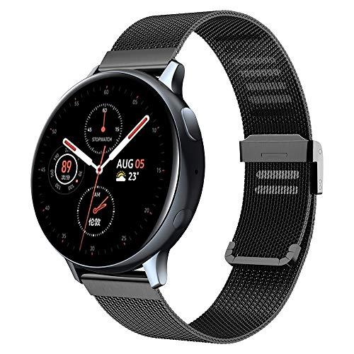 Kobmand Pulsera Compatible con Samsung Galaxy Watch Active2 / Active, Reemplazo de malla fina para Smartwatch Pulseras compatibles con Samsung Galaxy Watch Active / Galaxy Watch Active2 / Gear S2 Classic (Negro)