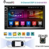 Podofo Autoradio mit Bluetooth, 2 DIN, Android 9.0 Quad-Core, 6 Kanäle, DSP TPMS 17,8 cm Touchscreen, Auto-Multimedia-Player, GPS-Navigation, WiFi, MP5, USB, AUX, FM mit Rückfahrkamera,...