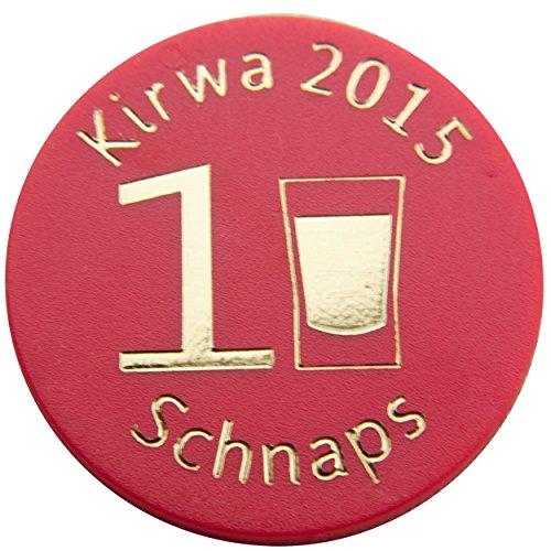 100 Pfandmarken, Wertchips, Pfandchips Einkaufswagenchipsp mit Logo Durchmesser 23mm, zweiseitig bedruckt P2-Kirwa 2015 1 Schnaps rot von SchwabMarken