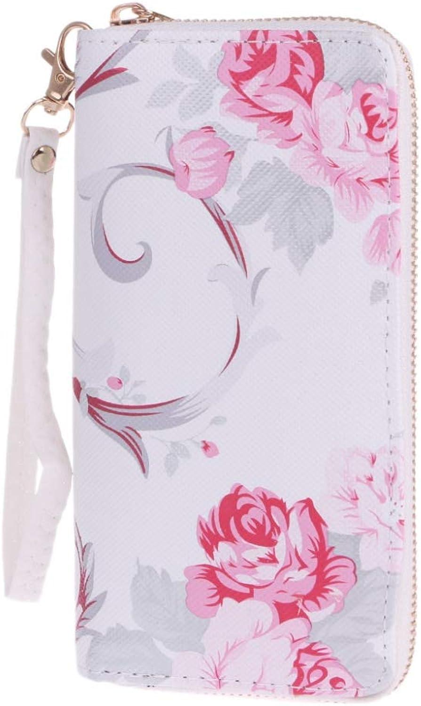 ZGSDYST Flower Print Clutch Long Wallet Card Holder Purse Handbag Wristlet Bag Leather Women Wallet