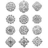 keland 12pcs Mix Set Spille di cristallo Fiore Spilla Collare Pin Corsage Bouquet Decor Lotto all'ingrosso FAI DA TE BROCCA (argento)