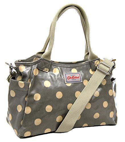 Cath Kidston Mini-Tagestasche, gepunktet, Wachstuch, Grau