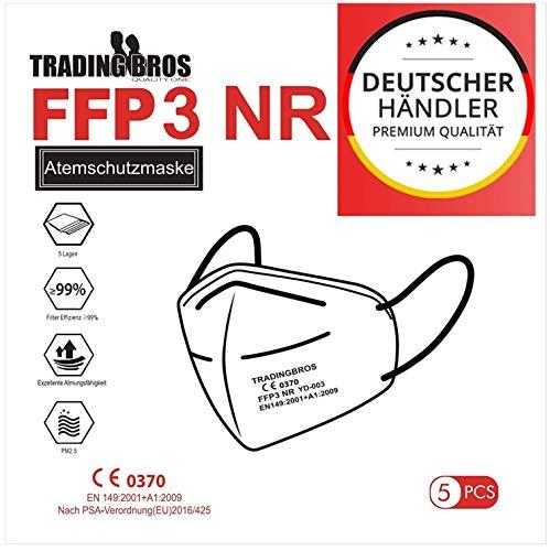 5x Premium FFP3 Maske ohne Ventil mit Ohrschlaufe Atemschutzmasken