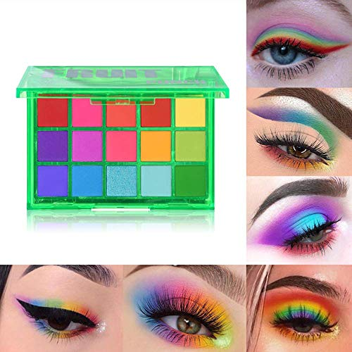 UCANBE 15 Farben Lidschatten-Palette, Shimmer Glitter Matte Neon Make-up-Palette Hochpigmentierte Metallic Nude Blendable Lidschattenpulver Sweet Party (Fruit Punch)