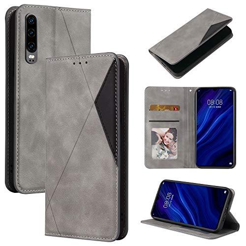 Handyhülle für Huawei P30 Hülle Leder Schutzhülle Brieftasche mit Kartenfach Magnetisch Stoßfest Handyhülle Case für Huawei P30 - XIYTB020346 Grau