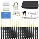 28-Piece Lock Pick Set with Transparent Padlock Picking Tool Kit Practice Lock Set for Beginners and Pro Locksmiths by OKPOW