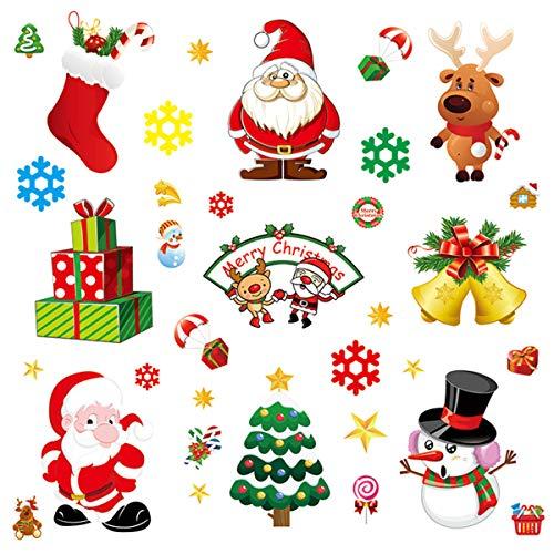 Byou Natale Vetrofanie,Natale Adesivi 10 Lenzuola Rimovibile Adesivi Statico Per Il Negozio Al Dettaglio Porta Finestra Natale Decorazione