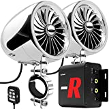 GoHawk TJ4-R Amplifier 4' Full Range Waterproof Bluetooth Motorcycle Stereo Speakers 1 to 1.5 in. Handlebar Mount Audio Amp System Harley Touring Cruiser ATV RZR, AUX, FM Radio