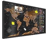 decomonkey | Pinnwand Weltkarte | XL Format: 100x50 cm | 3D Naturholz Rahmen Design Welt: Europa...