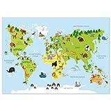 kizibi® Weltkarte Kinderzimmer Poster, Wanddeko Poster