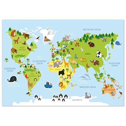 kizibi® Weltkarte Kinderzimmer Poster, Wanddeko Poster für Mädchen und Jungen, DIN A2 Wanddeko Kontinente zum Lernen, Lernposter Weltkarte auf deutsch, beliebt im Kindergarten, Vorschule, Grundschule