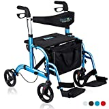 Health Line Massage Products 2 in 1 Rollator-Transport Chair w/Paded Seatrest, Reversible Backrest and Detachable Footrests, Sky Blue
