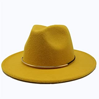 Fashion Men Women Wool Fedora Hat Travel Church Casual Hat Wide Brim Fascinator Hat Adult Hat Size 56-58CM. XGCCDAUha (Color : Yellow, Size : 56-58)