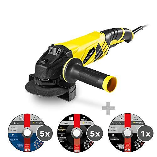 TROTEC Winkelschleifer Set PAGS 10-125 1.200 Watt   12.000/min + Trenn- und Schruppscheiben-Set 11-teilig