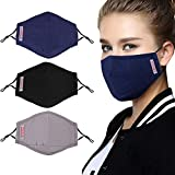 100% Cotton mask,Face Mask with 6 Activated Carbon Filter Inserts and Adjustable Shoulder Strap, Washable Reusable Cotton masks, Soft Portable mask, Suitable for Men, Women and The Elderly (3 Packs)