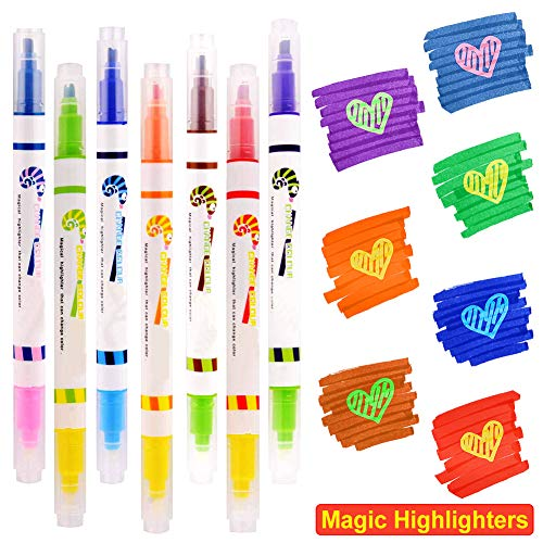 Magic Highlighter Marker Pens,7 Color Changing Highlight Pens,Dual Tip Chisel Tip Assorted Highlighter/Fluorescent Colors Rainbow Pens for Bullet Journal Diary Cartoon DIY Note Taking Painting