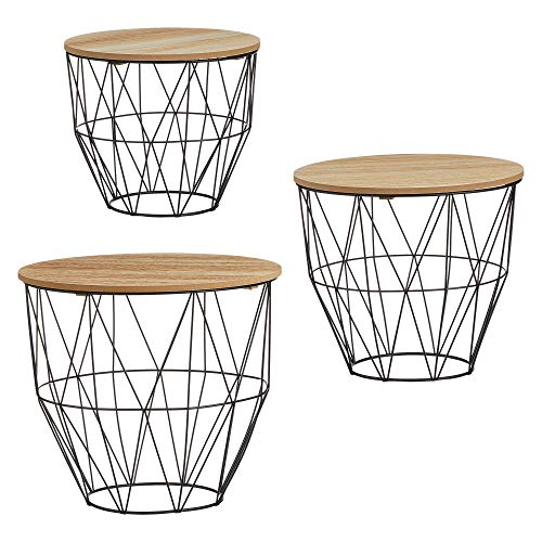 Beistelltisch 3er Set Couchtisch im Industrie Design aus Metall mit Holz Tischplatten (3er Set bauchiger Korb schwarz)