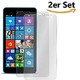 Conie SE11959 2er Set 9H Panzerfolie Kompatibel mit Microsoft Lumia 535, 2X Panzerglas Schutz Folie Anti-Öl, Anti-Finger Print Gorilla Glas für Lumia 535 Handyfolie (2 Stück) 2X Glasfolie