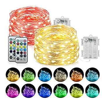 Homemory 2 Pack LED Fairy Lights Battery Operated 20Ft 60LEDs Color Changing String Twinkle Lights with Remote Waterproof Silver Wire Halloween Christmas Lights for Bedroom Indoor Decor-13 Colors