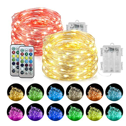 Homemory - Striscia di luci a LED con Telecomando, Funzionamento a Batteria, Filo di Rame, Impermeabile, per Interni ed Esterni, 20FT, Color Changing, 20FT, Color Changing