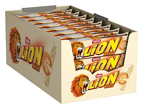 Nestlé LION White, Schokoriegel mit weißer Glasur, leckerer Karamell-Füllung und knuspriger Waffel, Süßigkeiten Großpackung, 24er Pack (24 x 42g)