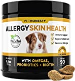 PetHonesty Allergy SkinHealth - Fish Oil for Dogs Omegas, DHAGold, Flaxseed, Probiotics for Itch-Free Skin, Shiny Coats, Hotspots, Reduce Shedding, Soft Chews for Healthy Skin & Coat - 90 ct (Salmon)