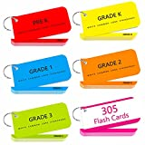 250 Dolch & Fry Sight Words Flash Cards with Sentences Plus 50 Blank Flash Cards , Big Word Reading Flash Card from Pre K to 3rd Grade (Include 6 Rings)